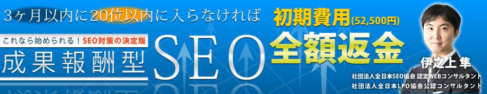 成果報酬型SEO これなら始められるSEO対策の決定版!3ヶ月以内に20位以内に入らなければ初期費用(52,500円)全額返金 伊之上隼・社団法人全日本SEO協会認定WEBコンサルタント 社団法人全日本LPO協会公認コンサルタント